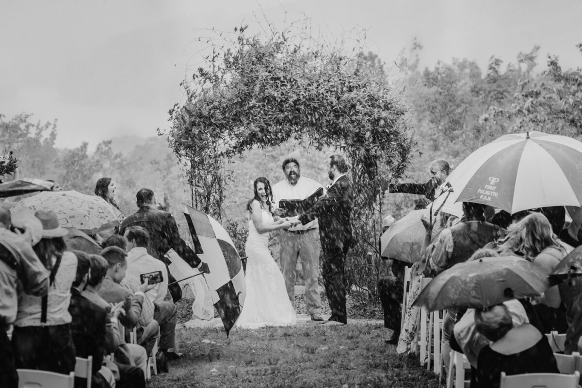 Rain begins to pour during an outdoor wedding ceremony.