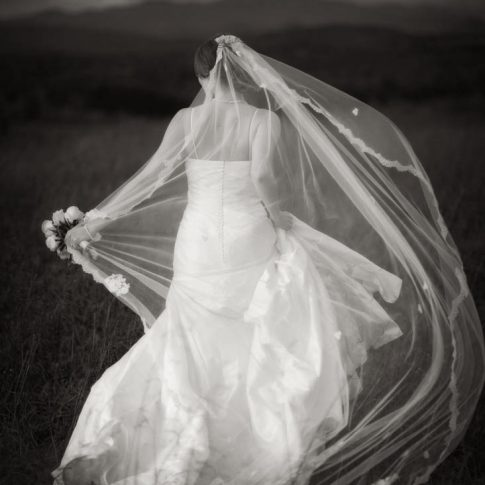 In an image taken during a stormy bridal session at Chattooga Belle Farm the brides veil and dress blow tumultuously in the wind.