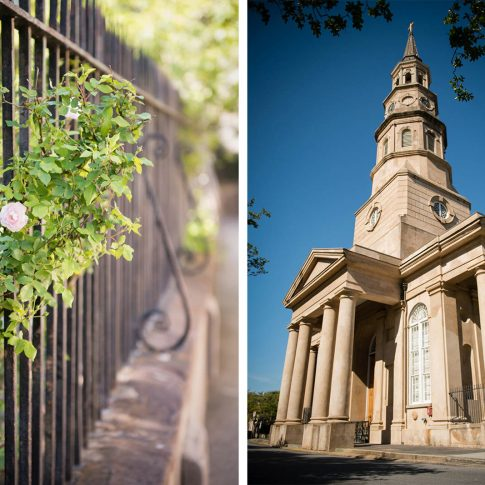 A detail shot of the pink flowers on bushes surrounding the church and a shot capturing the towering steeple and majestic columns around St. Philips church in Charleston, SC.