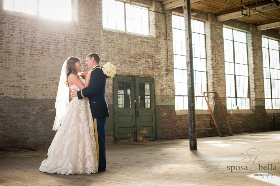 This 100,000 square foot room at the Southern Bleachery is completely surrounded by large windows on all sides. It was the perfect spot for their first look.