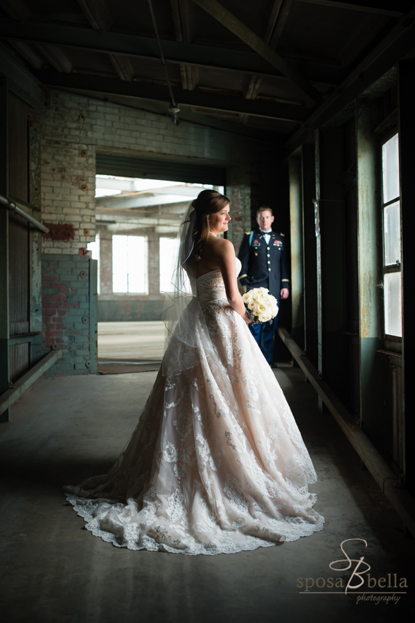 I just love the dramatic light on the bride and groom in this hallway.