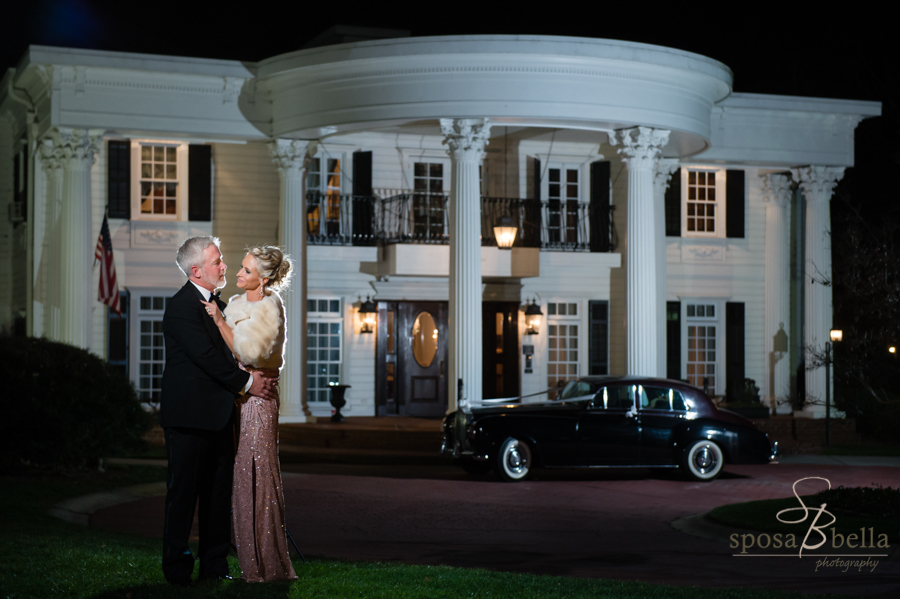 The Ryan Nicolas Inn at night, a superb southern mansion for hosting a wedding.