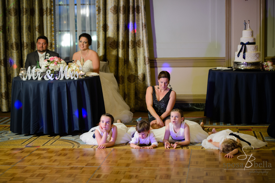 I just love the flower girls and ring bearer!! They are apparently bored with the reception toasts at the Westin Pointsett Hotel.