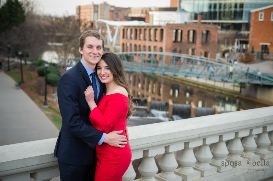 Kylie and John on Main St. bridge in downtown Greenville.