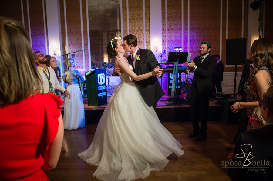 Love this moment with the bride's gown swirling around the happy couple! Congrats Susan and Ben!!