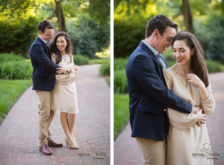 Engaged couple happily embraces in at Furman University.