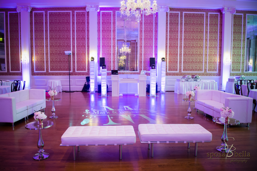 Monogramed dance floor at the wedding reception.