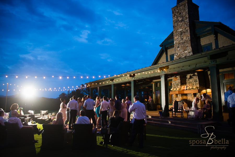 The Orchard House at the Reserve at Lake Keowee wedding reception at dusk.
