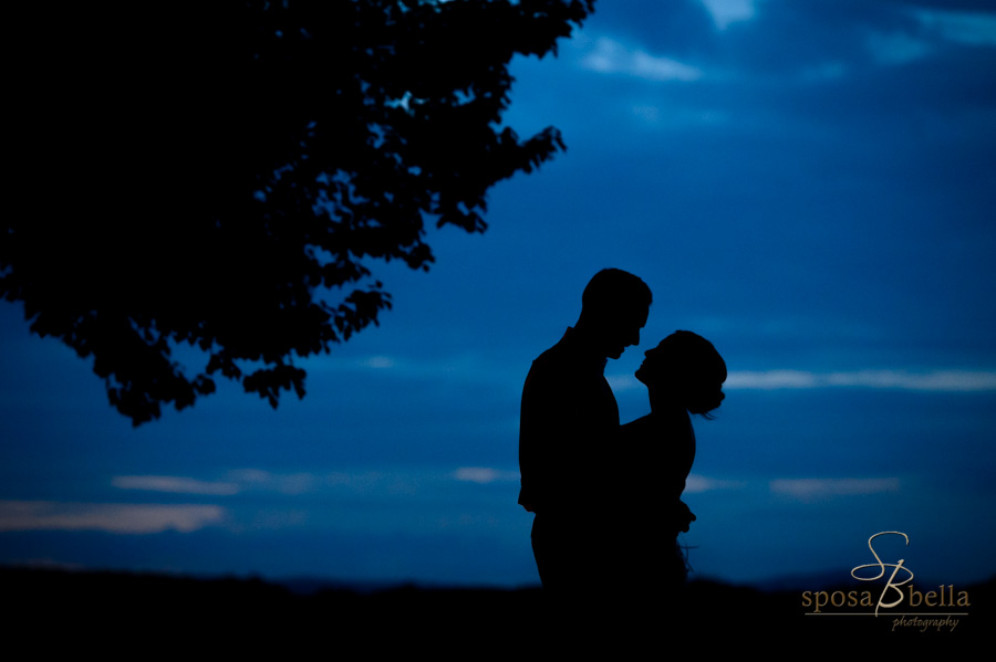 A bride and groom are silhouetted by a beautiful blue evening sunset.