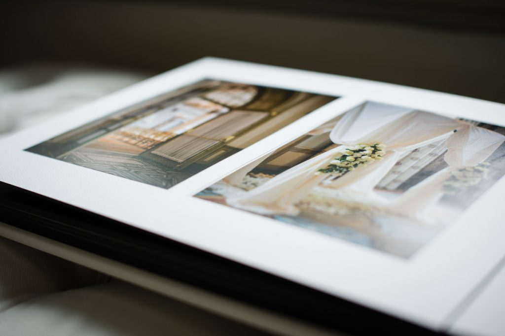Matted album page design of wedding ceremony.