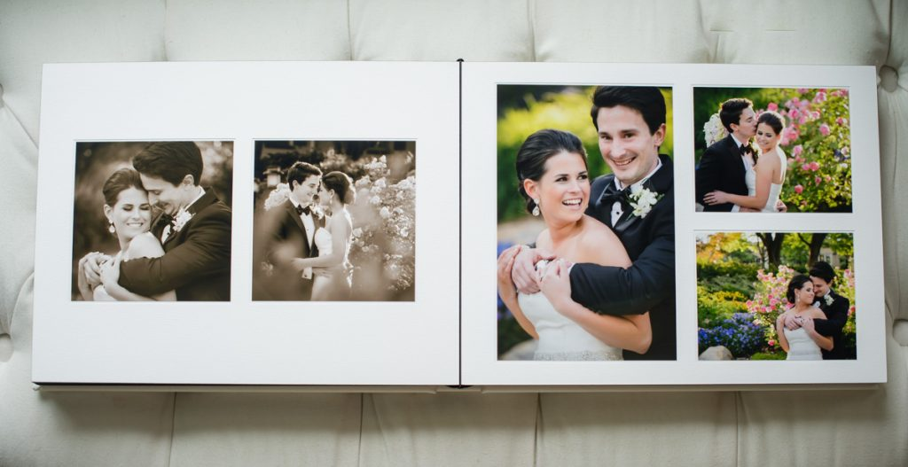 5 images of a bride and groom on their wedding day laid out in a matted wedding album.