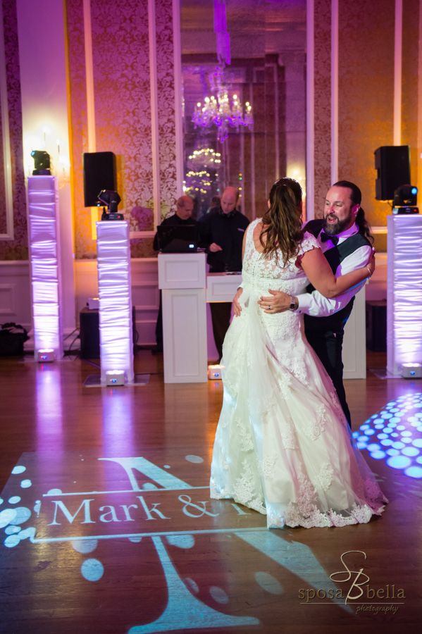 Bride and groom dancing at their wedding reception.