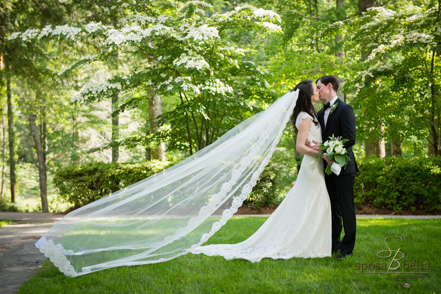 Bride and groom kiss at underneath the canopy of the trees at High Hampton Inn.