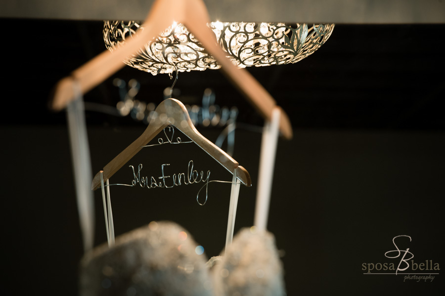 Custom wire hanger with bride's new last name.