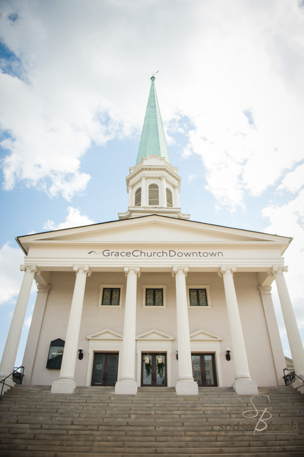 The towering Grace Church in downtown Greenville, with it's green steeple and elegant columns.