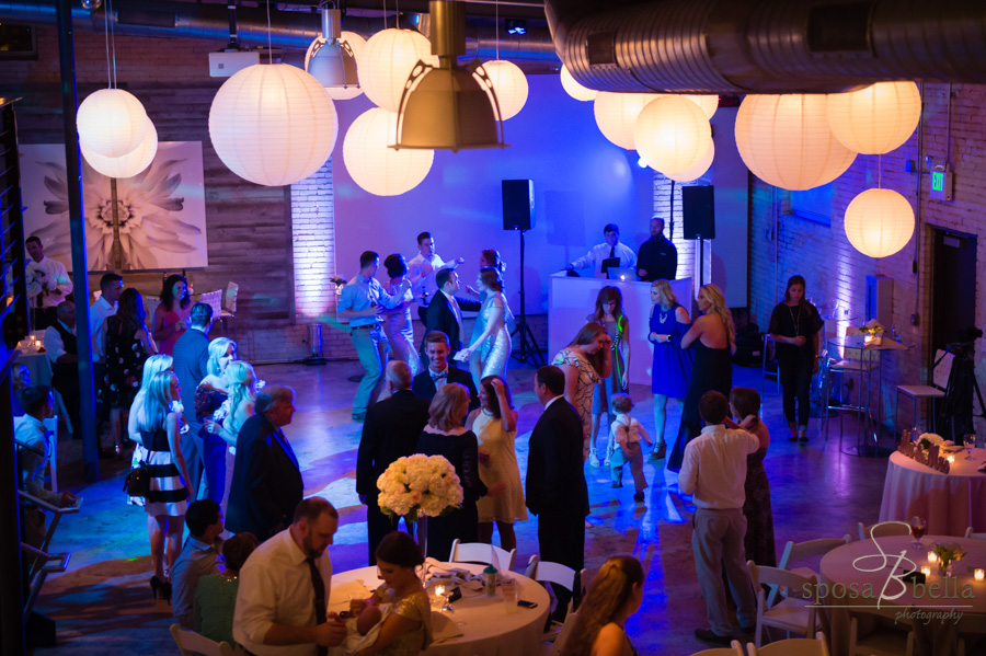 Wedding reception guests dance at Zen Greenville.