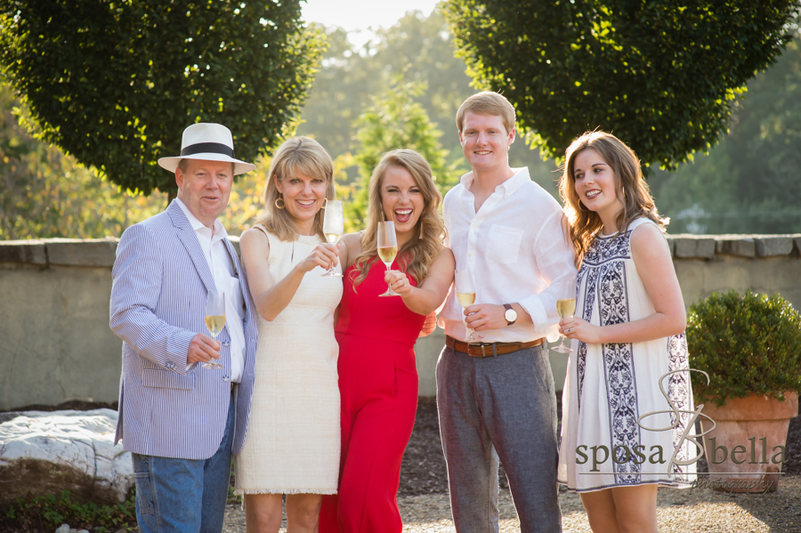 Haley's family joins the happy couple for a celebratory champagne toast at Hotel Domestique.