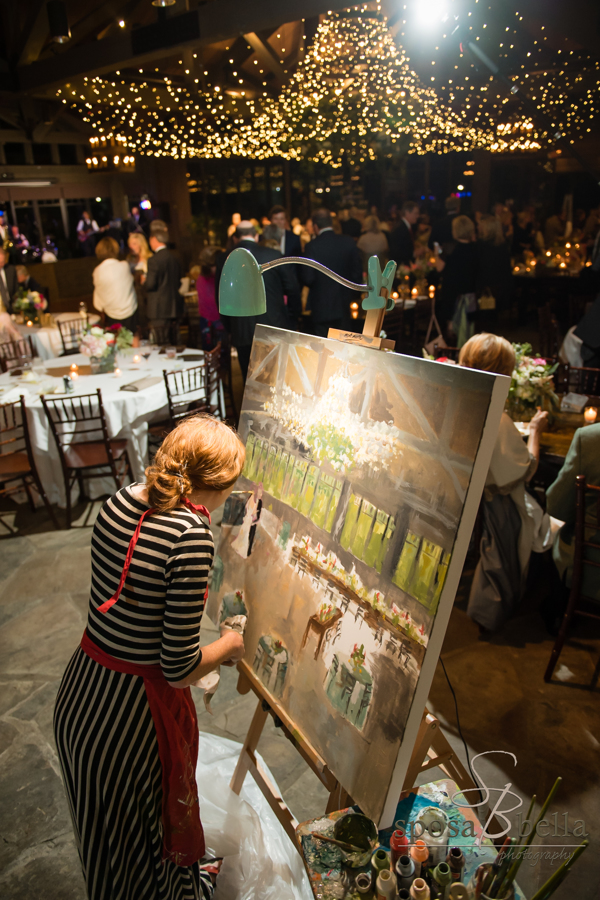 A painter captured the beautifully decorated venue during the reception.