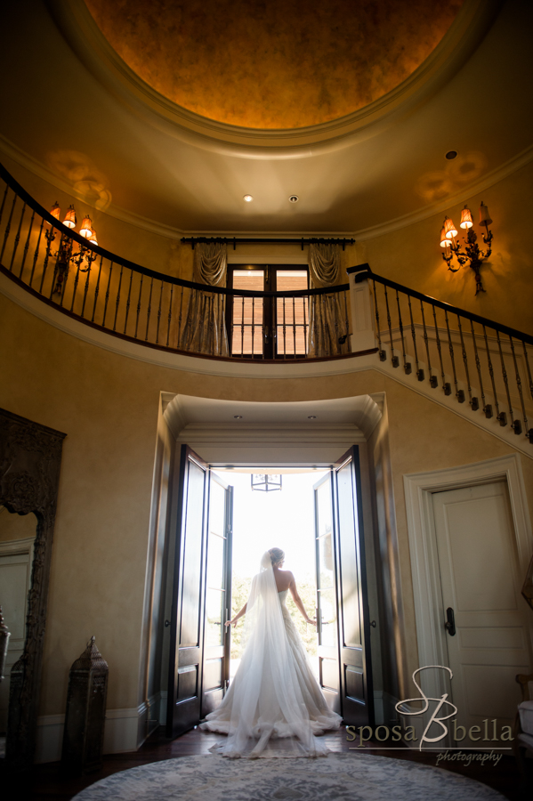Bridal portrait of bride in doorway.
