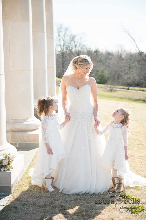 A bride with her flower girls.