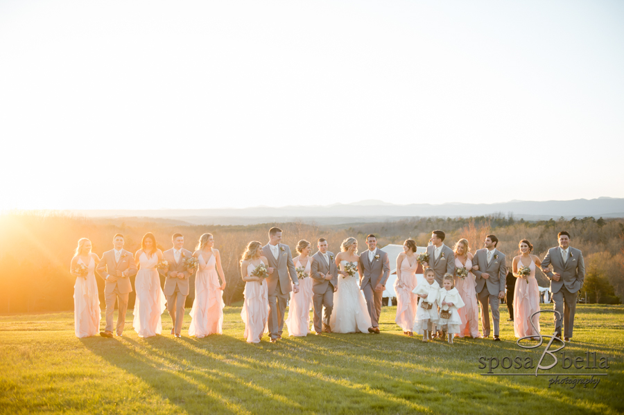 Bridal party photo at sunset.