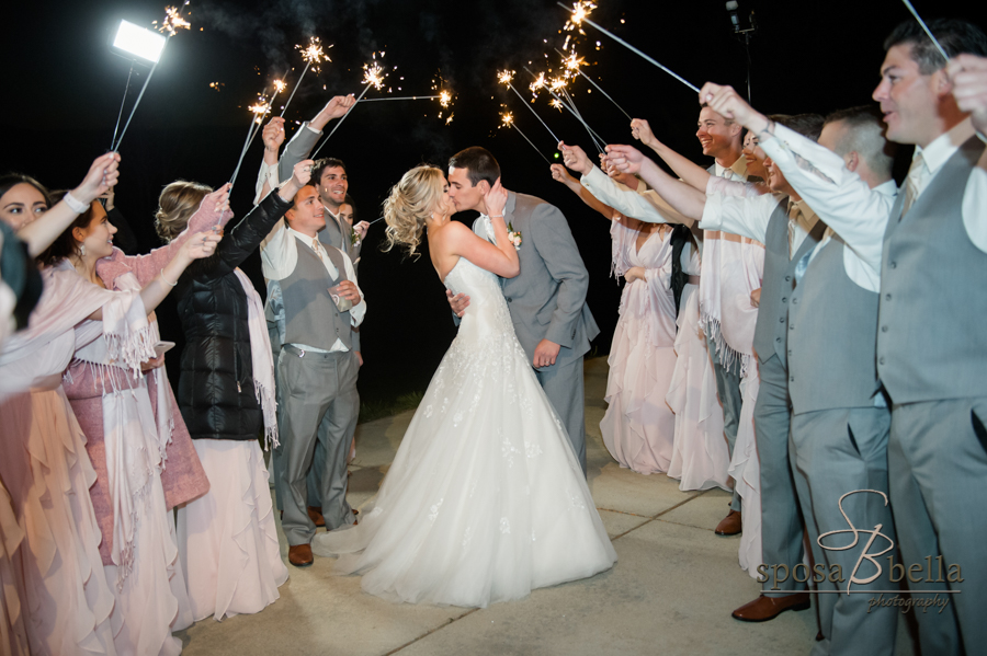 The happy couple's grand exit to sparklers.